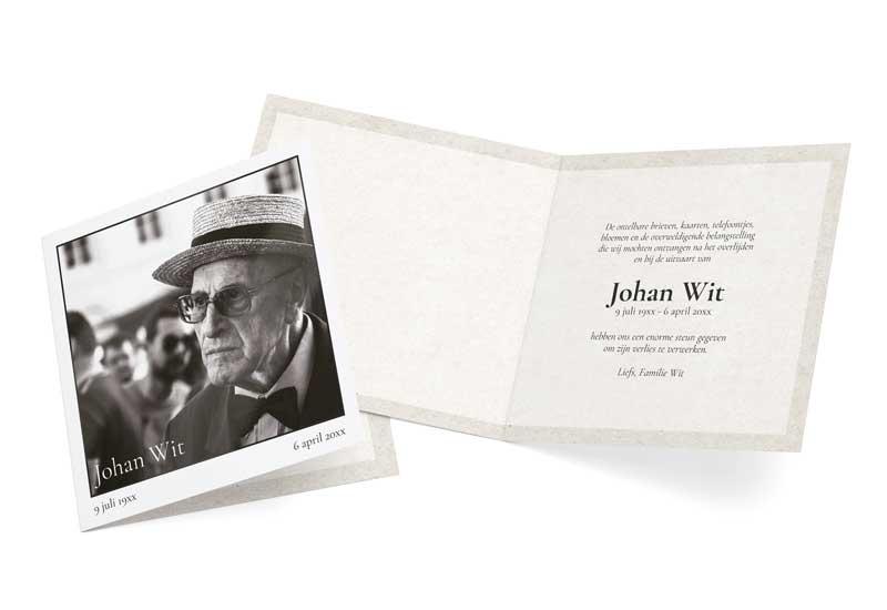 Rouwbedankkaart Zwart-Wit