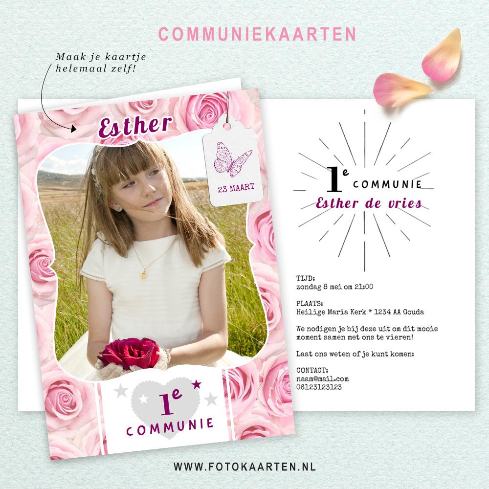 Communie rozen vintage kader eerste communie meisjeskaart