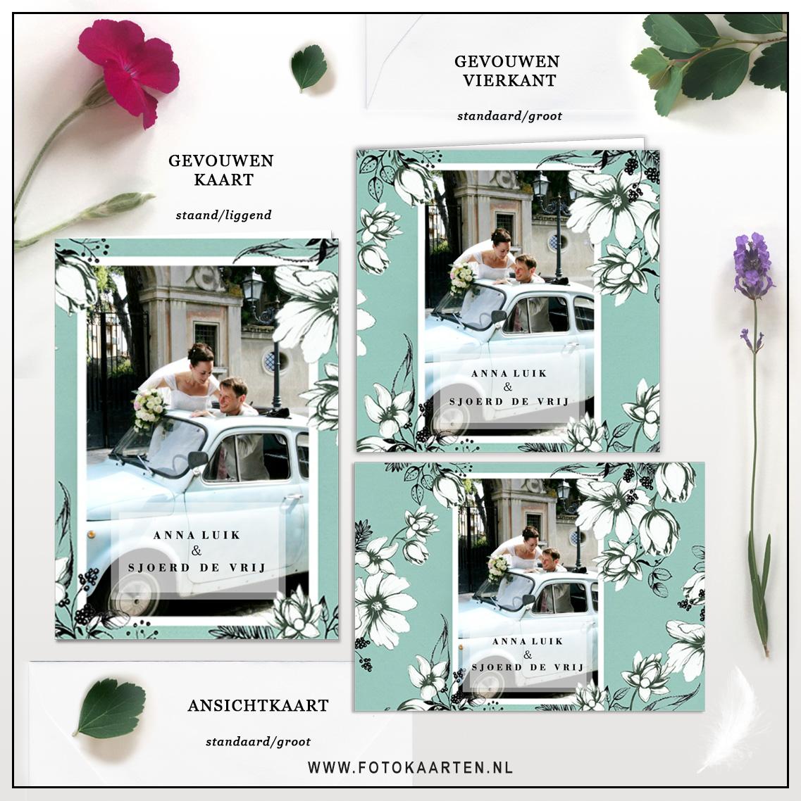 Fotokaarten Huwelijk trouwkaarten met foto Bruiloft mooi origineel mintgroen