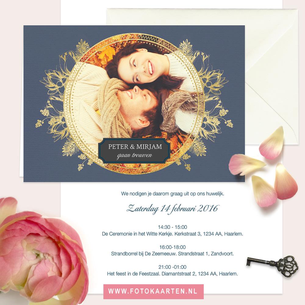 Fotokaarten goudeffect klassiek mooi chique trouwen