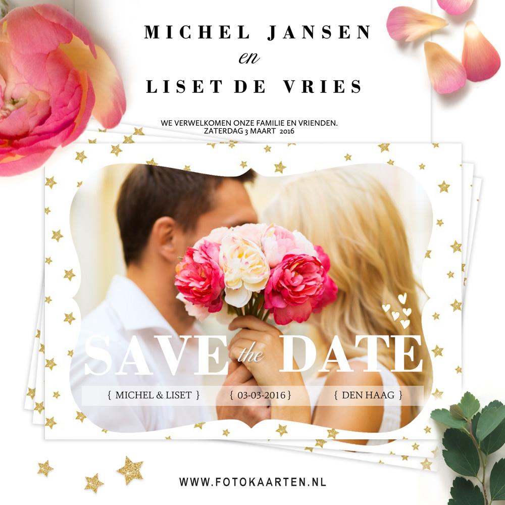 Fotokaarten mooie Save the date sterretjes vintagekader trouwkaarten bedankkaarten