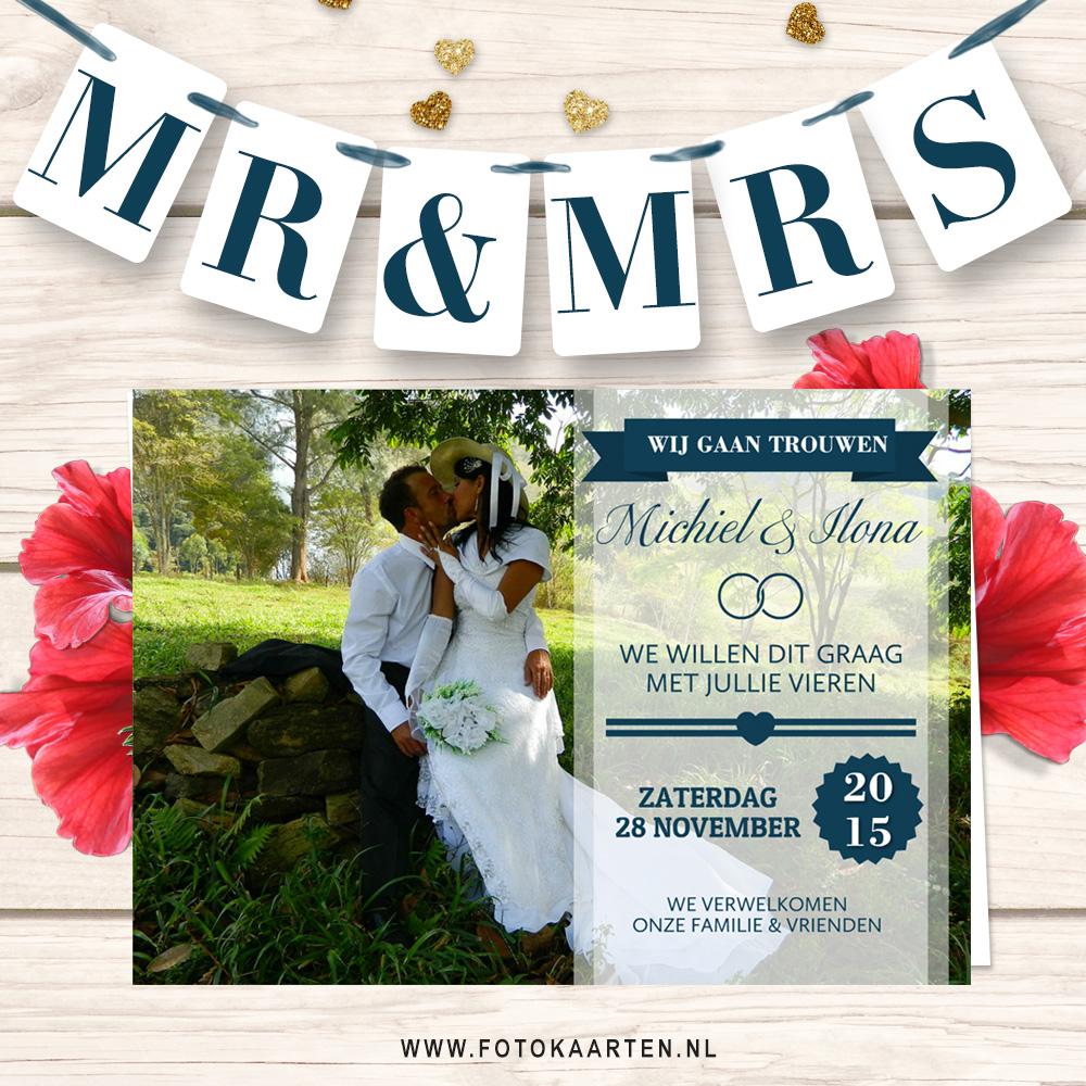 Fotokaarten mooie tekst inspiratie Huwelijk uitnodiging goedkoop drukwerk