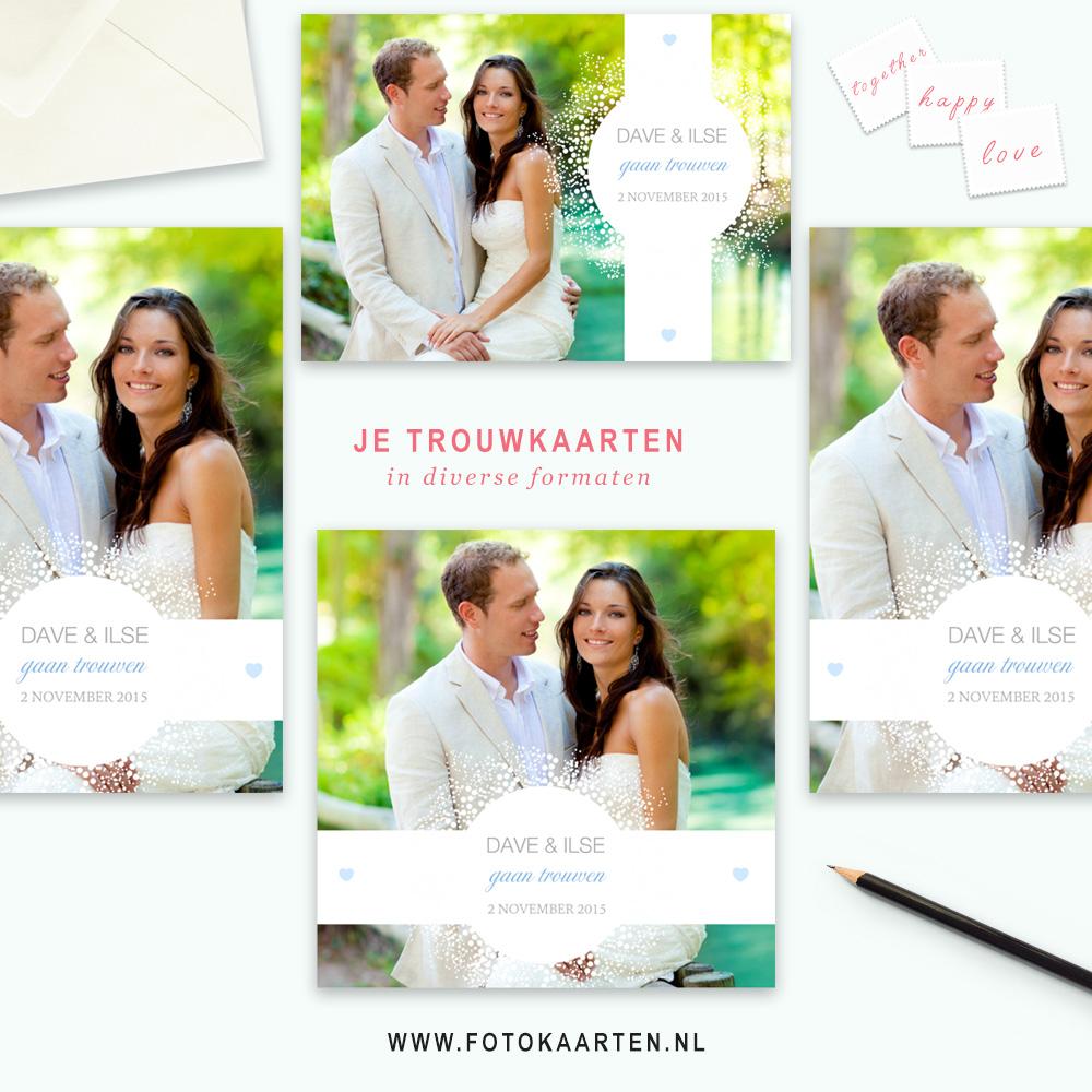Fotokaarten prachtige trouwkaarten prijs bruiloft uitnodigingen