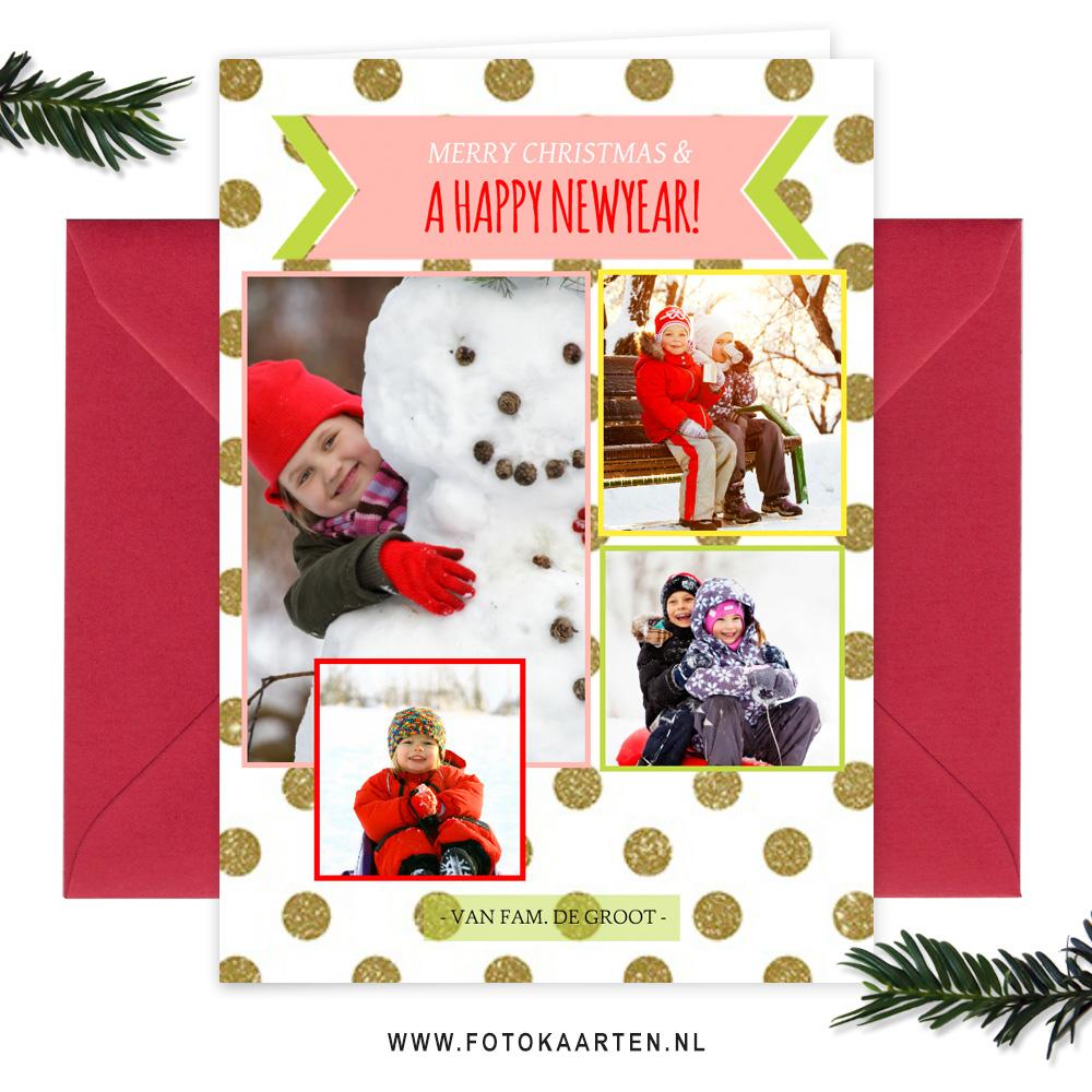Gezellige_kerstkaart_stippels_kinderen_sneeuwpop_goud_meerderefotos_web