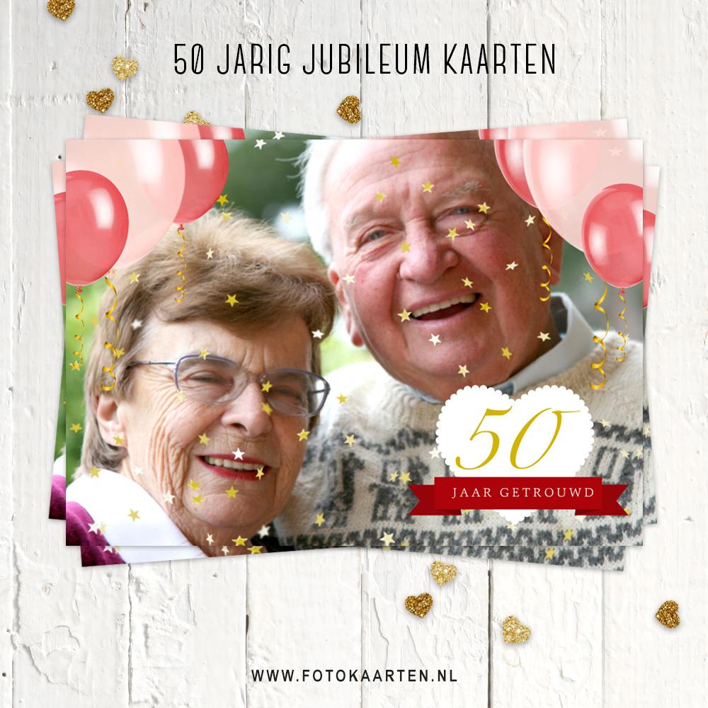Jubileumkaart 50jaar samen sterretjes ballonnen