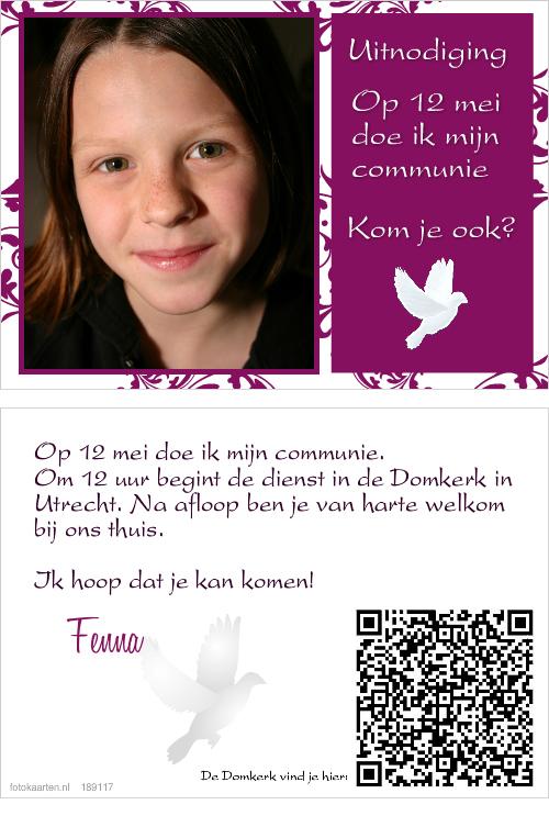 communie kaartje met foto en qr code