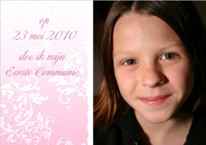fotokaarten uitnodiging voor communiefeest