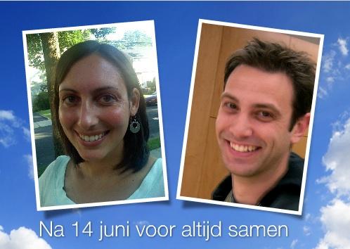 fotokaarten trouwaankondiging twee fotos
