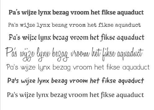 nieuwe lettertypes fotokaarten