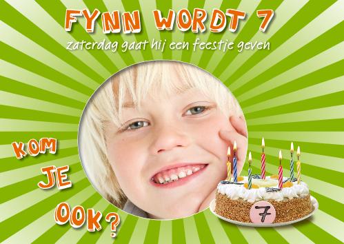 uitnodiging kinderfeestje met foto en taart