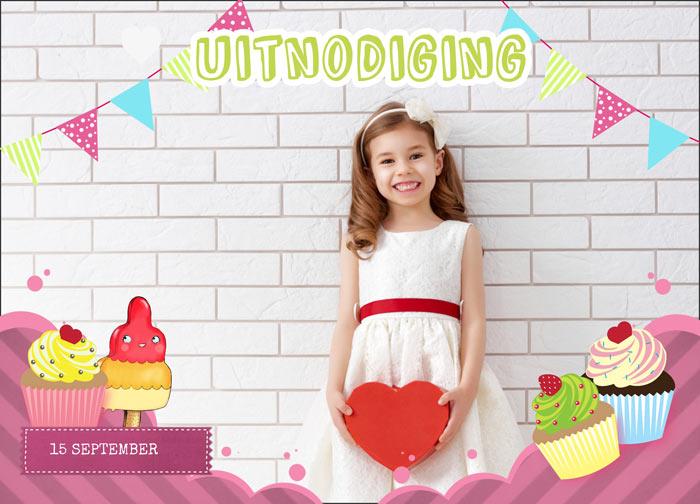 uitnodiging kaart voor cupcake feestje