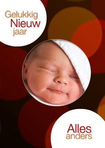 vooorbeeld nieuwjaarskaart met babyfoto