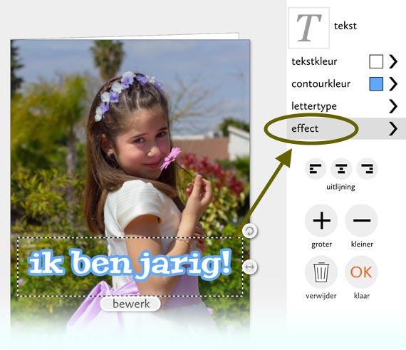 voorbeeld teksteffecten op fotokaart
