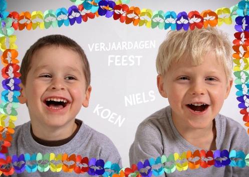 uitnodiging kinderfeestje met slingers