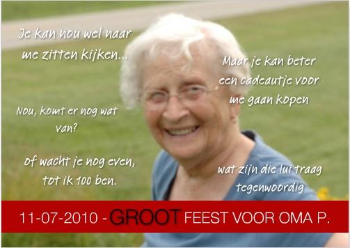 fotokaarten uitnodiging feest voor oma
