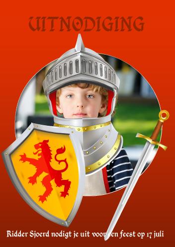 uitnodiging kinderfeest ridderfeest
