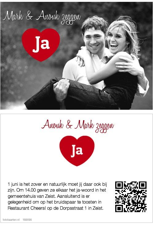 Uitnodiging Fotokaarten met foto en QR code
