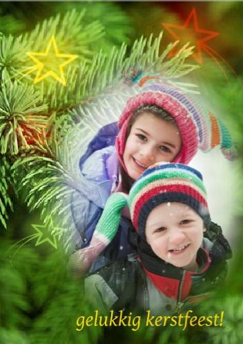 voorbeeld foto kerstkaart takken sterren