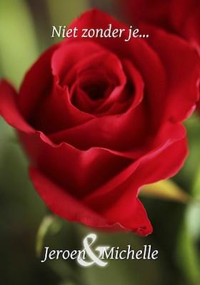 trouwkaart met foto roos
